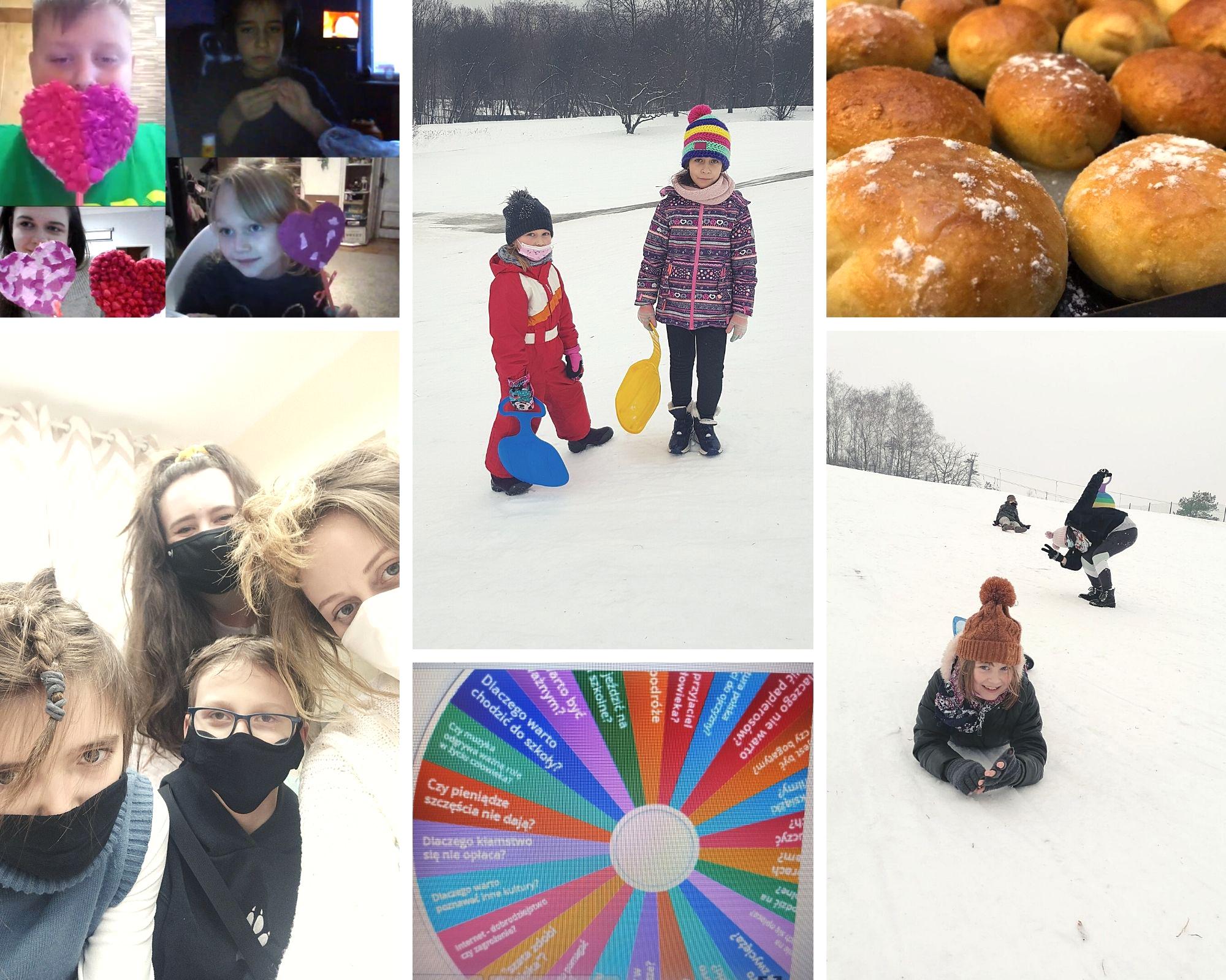 kolaż ze zdjęć dzieci Ogniska Okęcie, fotorelacja z najważniejszych wydarzeń lutego