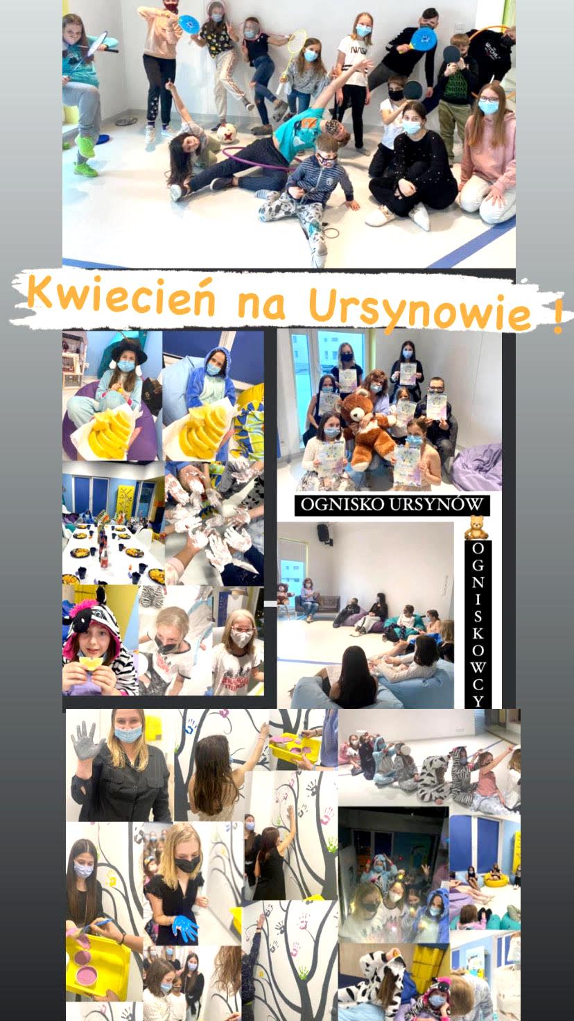 kolaż ze zdjęć dzieci Ogniska Ursynów, fotorelacja znajważniejszych wydarzeń kwietnia