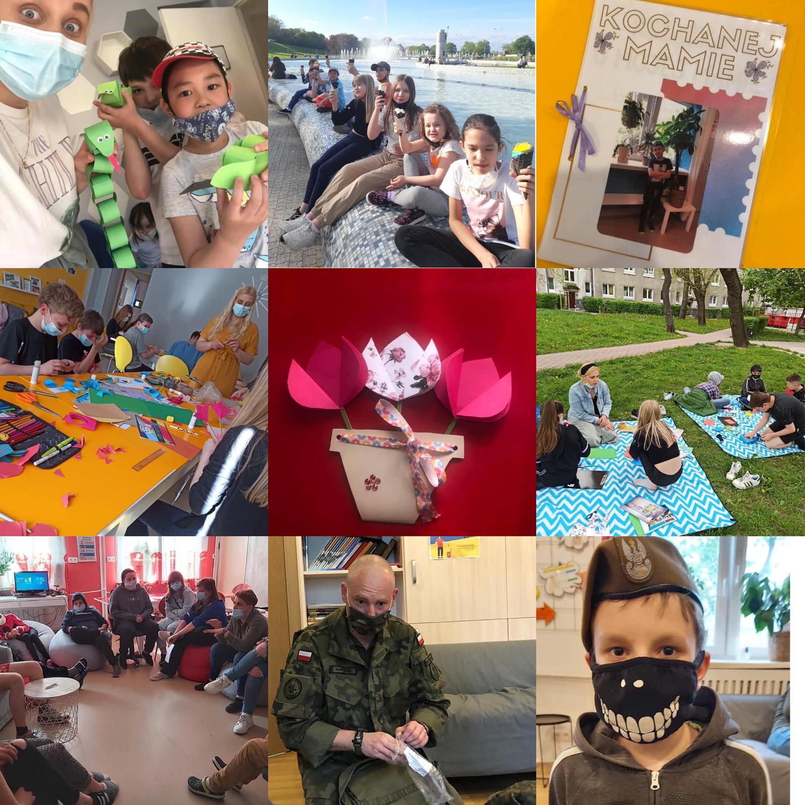 kolaż ze zdjęć dzieci Ogniska Muranów, fotorelacja znajważniejszych wydarzeń maj