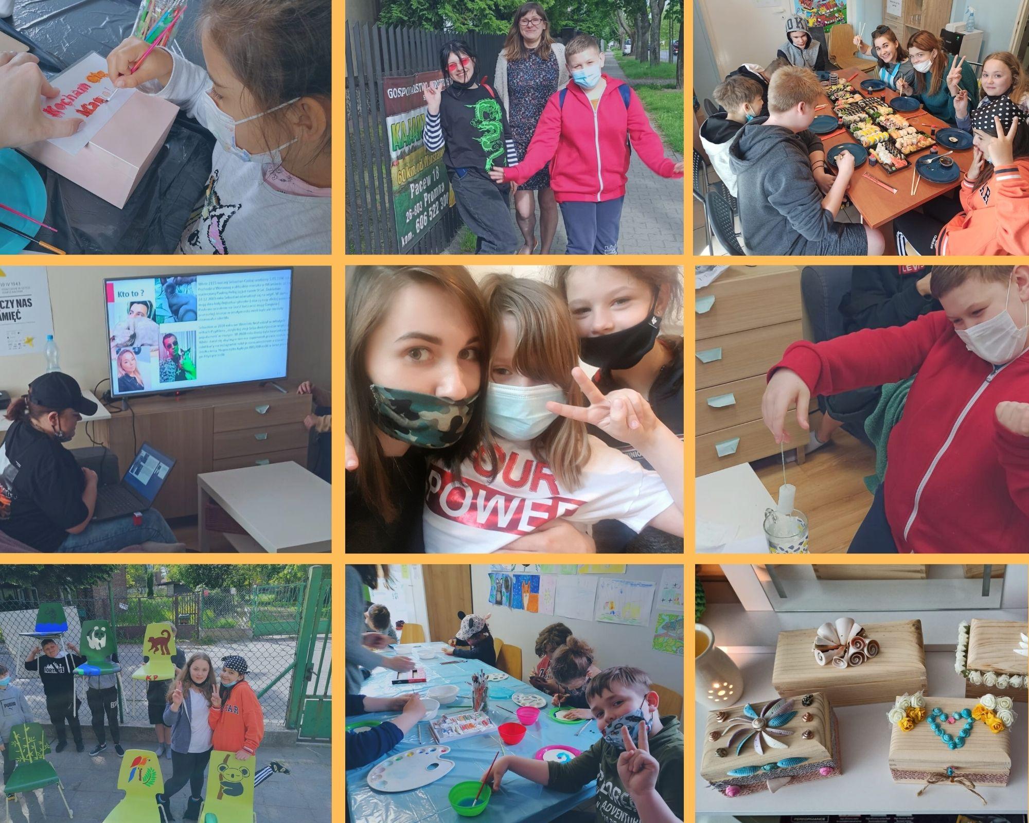 Kolaż ze zdjęć dzieci zOgniska Okęcie, miesiąc maj